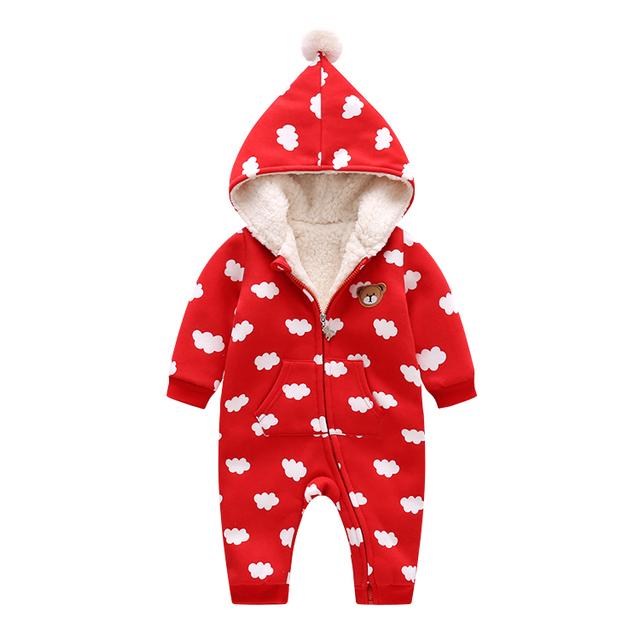 Precioso Mameluco Del Bebé Del Invierno Nubes Imprimir Warm Ropa Playsuit Mono Recién Nacido de Navidad