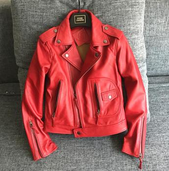 Factory 2017 New Women's Real Natural Sheep Skin Genuine Leather Jacket Fashion Red/Black Slim Short Ladies Biker Jackets