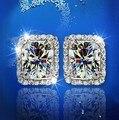 Korean Earrings 2016 925 Earrings Stud Crystal Wedding Evening Earrings Designer Earrings Platinum Plated