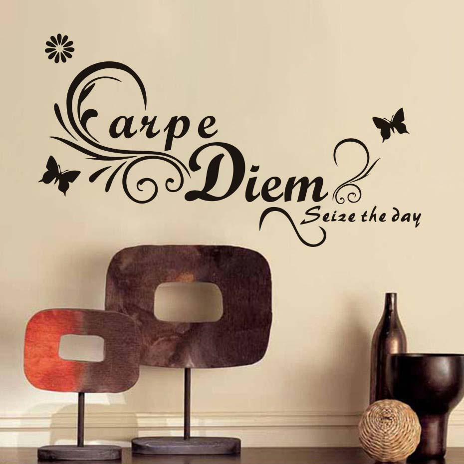 Carpe Diem Seize The Day Butterflies Wall Decal Removable Art Word Home Decor Large Size Kids Living Room Sticker
