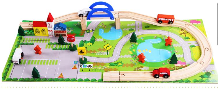 40pcs railway track overpass blocks wooden structuresurban railway track kidsbaby