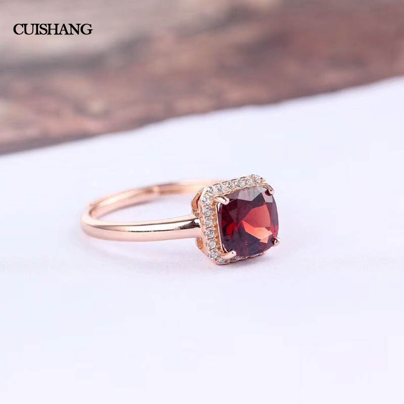 CSJ 100% Natural Red Garnet Rings 925 Sterling Silver Jewelry Wedding Bands for Women Gift csj 100