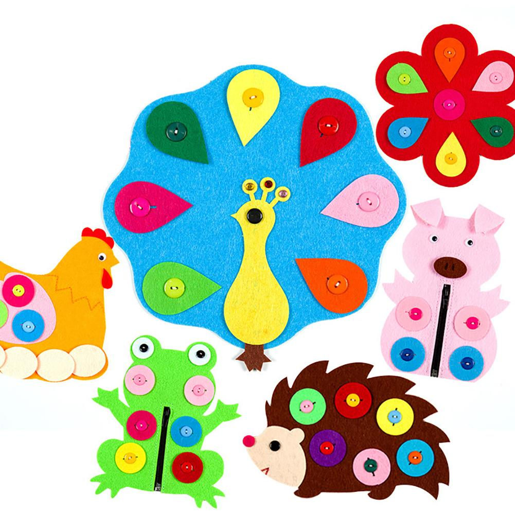 Cute Animal Flower Zipper Button DIY Non-Woven Boards Children Teaching Toy