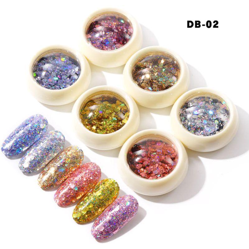 6 Boxes Color Change Flakes Laser Nail Glitter Sequins(color change sequins)