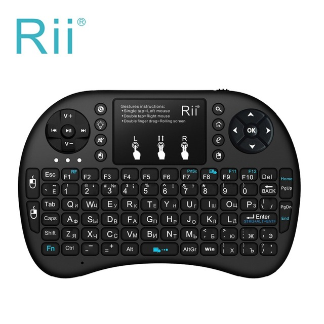Original russo Teclado Rii mini i8 Sem Fio + Teclado Qwerty Touchpad Backlit Teclado para HTPC Tablet Smart TV Box PC Teclado