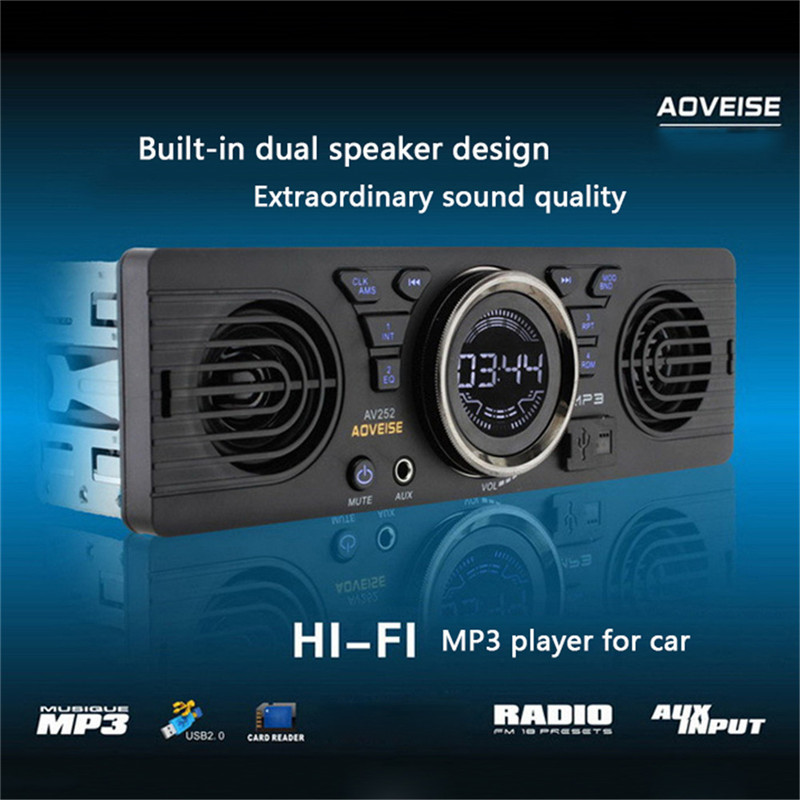 Vehicle Electronics In-dash MP3 Audio Player Car Stereo FM Radio AV252B 12V Bluetooth 2.1 + EDR with USB / TF Card Port image