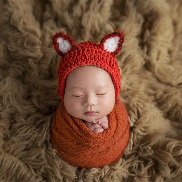 c50d03a749c Knitted Cotton Fox Hat Pattern Newborn Boy Hat Props Crochet Lovely Animal  Bonnet Infant Bonnet Baby Photography Props