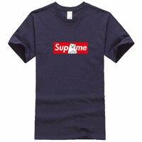 Новый футболки для мужчин в 2018 хлопок супрем 100% 1:1 с карате RAW футболка скейтборд футболки для девочек черный пародия мультфильм для мужчин/ для женщин футболка