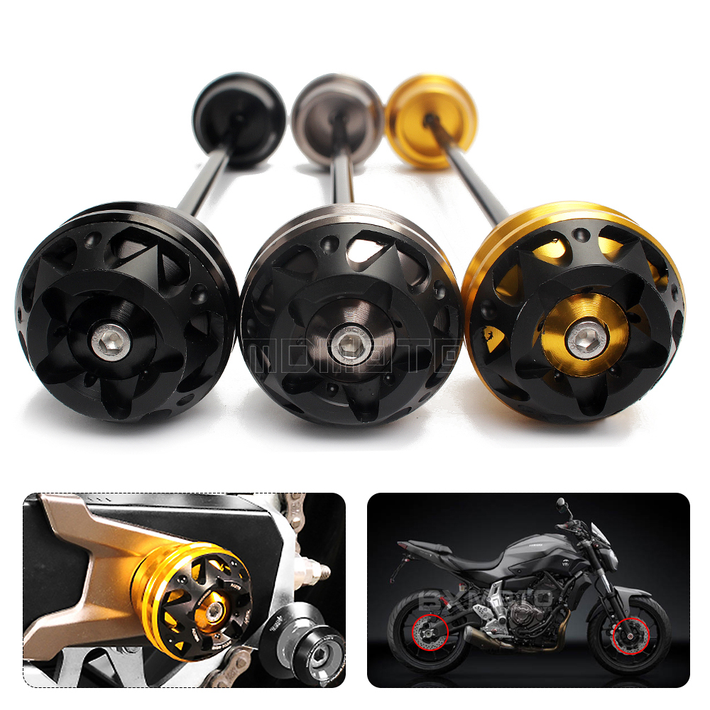 Подробнее о For Yamaha MT07 MT-07 FZ07 2013 2014 2015 2016 Motorcycle accessories Front Axle Fork Wheel Protector Crash Sliders Cap Pad for yamaha mt07 fz07 mt 07 fz 07 2014 2015 motorcycle cnc billet aluminum front fork cover caps free shipping