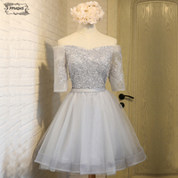 Summer Vintage Lace Short Bridesmaid Dresses 2017 Half Sleeves A Line Lace Up Grey Cheap Wedding