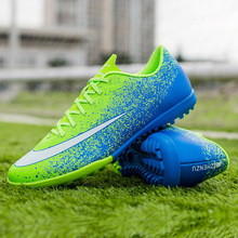 New Design Adult Kids Short Nails Football Shoes Men Women Outdoor Antiskid Flat Soccer Shoe Students Training TF Boots