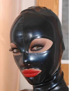 Image 4 - Latex kostüme hauben masken w schwarz zipper