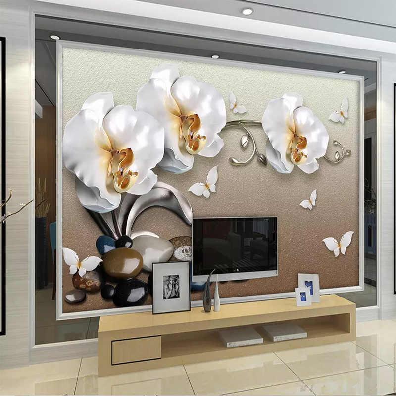 Papel دي Parede مخصص صورة جدارية الفاخرة الذهبي مجوهرات فالاينوبسيس التلفزيون خلفية خلفيات للجدران 3 D قماش صوفي