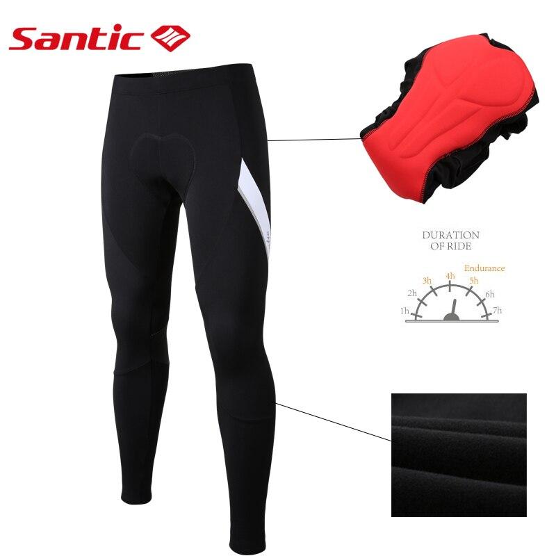 Santic Men Keep Warm Winter Bike MTB Pants Fleece Padded Cycling 4D Cushion Pad Downhill  Reflective Pantalon
