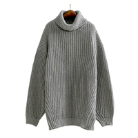AZURE SHEN Winter Loose Sweater Women 2017 Casual Turtleneck Solid Color Gray Female A Line