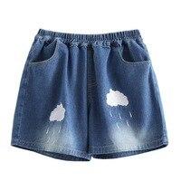 Lato Małe świeże Kawaii Chmura Hafty W Pasie Luźne spodnie Myte Dorywczo spodnie Szerokie Nogawki Spodenki Jeansowe Szorty Damskie Mini Szorty J028