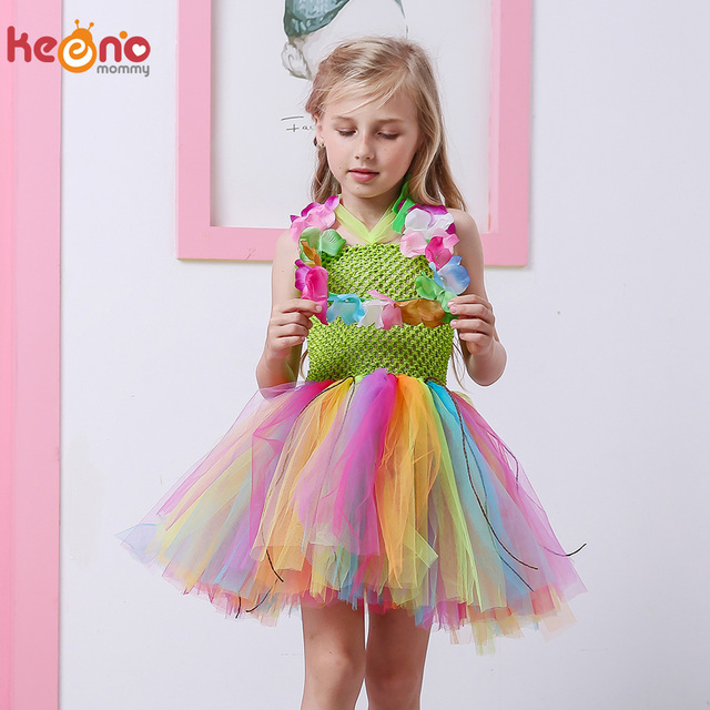 2e6384ca5 Girls Candy Grass Hula Tutu Dress for Pool Party Birthday Outfit ...