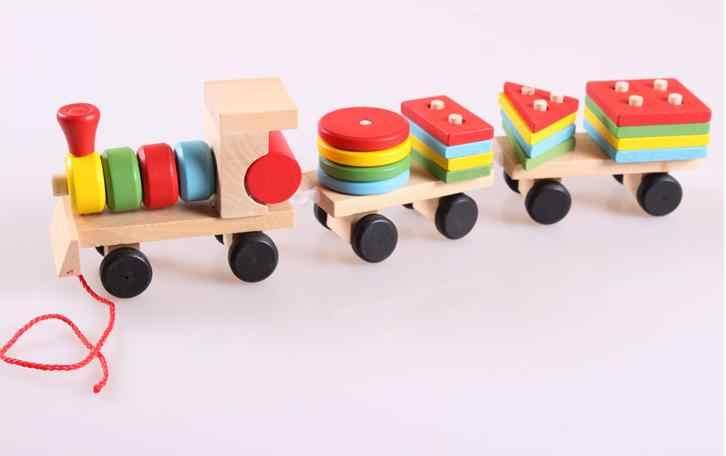 Бесплатная доставка Детские развивающие игрушки, но поезд игрушки на веревке, большие три поезда, удалить сборку поезда строительные блоки