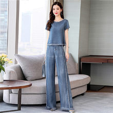 CBAFU denim tracksuit for women short sleeve loose crop tops jean pants tassel wide legs pants suits 2 piece set female P180(China)