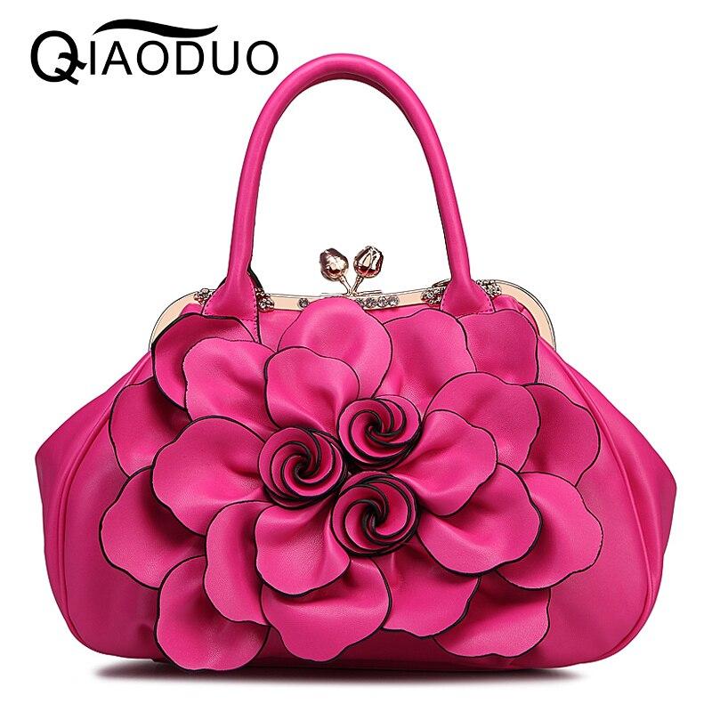 QIAODUO Bolsa Feminina Luxury Handbags Women Bags Designer Flowers Pu Leather Handbags Pink Crossbody Bags For