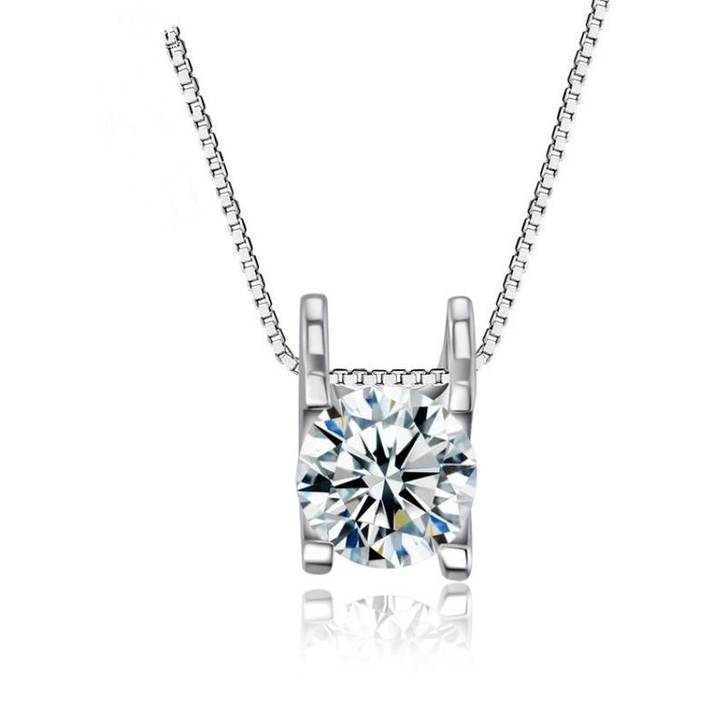 Everoyal Top Quality AAA+ Crystal Round Pendant Necklace Girls Bijou Vintage Lady 925 Sterling Silver For Women Jewelry