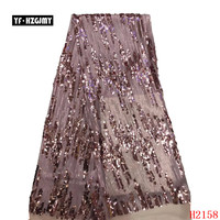YF HZGJMY 2019 Stylish French Sequins Net Lace pink gold Sequins Fabrics For Party High Quality African Tulle Lace Fabric A2158