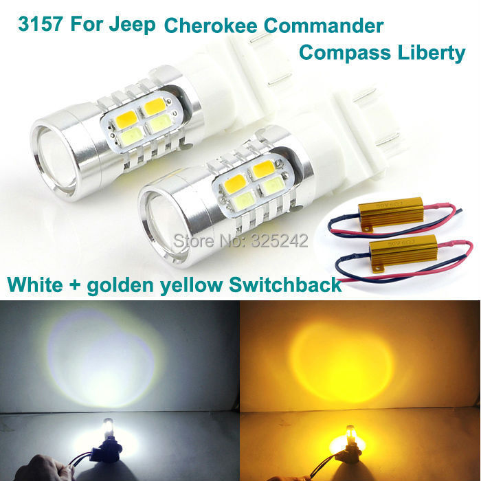 For Jeep Cherokee Commander Compass Liberty Excellent Ultra bright 3157 Dual-Color Switchback LED DRL+Front turn Signal light бинокль steiner commander global 7x50 compass