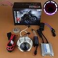 Motocicleta farol 2.3 CCFL Angel Eye Halo demônio olho Hid Bixenon lente do projetor de luz Kit de farol acessórios da motocicleta