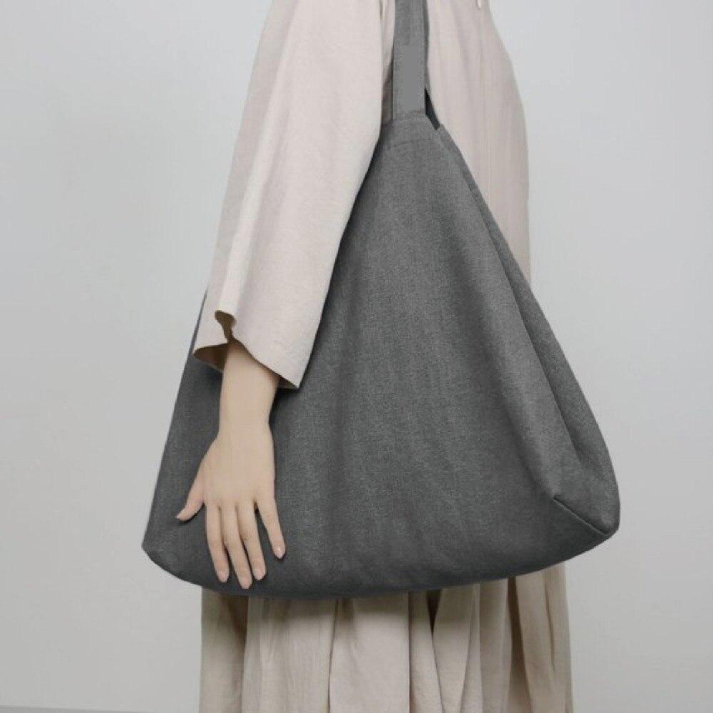 Grand ECO mode Durable femmes étudiant coton lin sac à bandoulière unique Shopping fourre-tout lin toile sacs à provisions