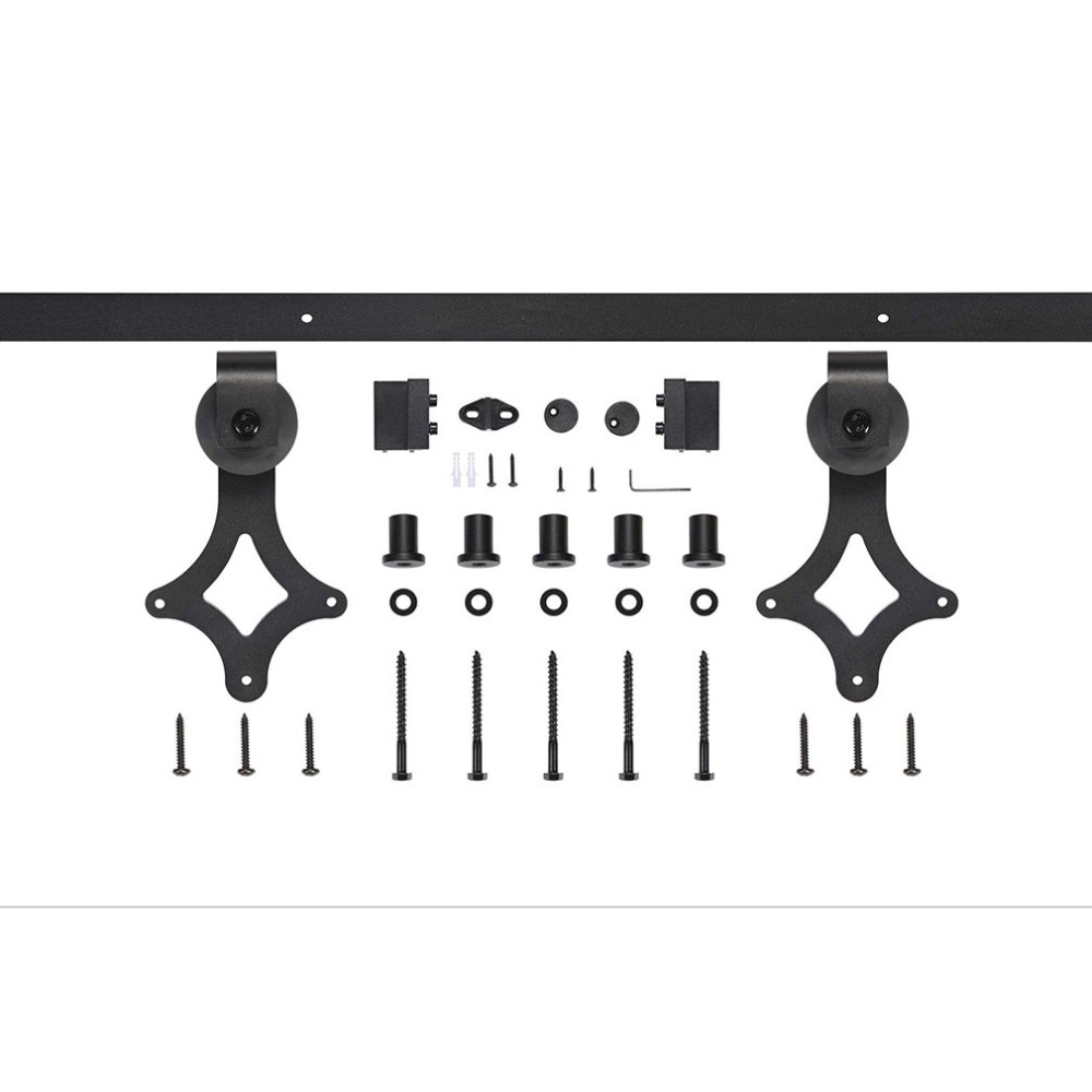 6 FT Modern Door Hardware Closet Set Antique Style Sliding Track Steel Closet Track Kit Durable Bypass Wood Roller 2018 NEW