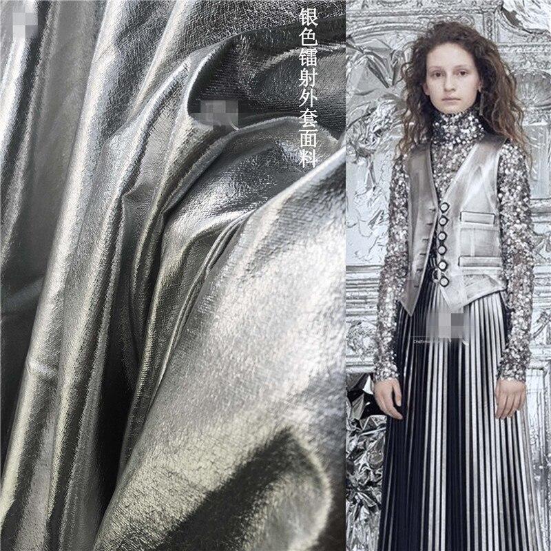 50 Cm * 148 Cm/stuk Designer Stof Tpu Coating Spiegel Heldere Zilveren Zachte Lederen Overjas Stof