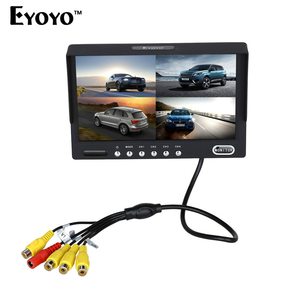 Eyoyo KJ-708 7 inch HD TFT LCD Wired Car Monitors Split Quad Monitor 4 Channel Video Input Full HD Color Image With Sunshade sky 708 40ch 7 monitor hdmi input and diversity rx dvr ppm function