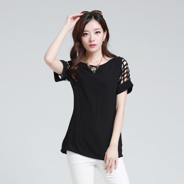 HTB1LrAnKpXXXXXUXpXXq6xXFXXXF - New Summer shirt Short sleeve Chiffon Blouse Tops Clothing 5XL