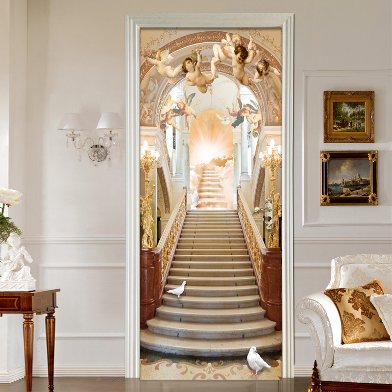 European Style Angel Ladder Photo Wallpaper Living Room Hotel Space Expansion 3D Wall Mural Sticker PVC Self-Adhesive Wall Paper custom 3d mural wallpaper european style painting stereoscopic relief jade living room tv backdrop bedroom photo wall paper 3d