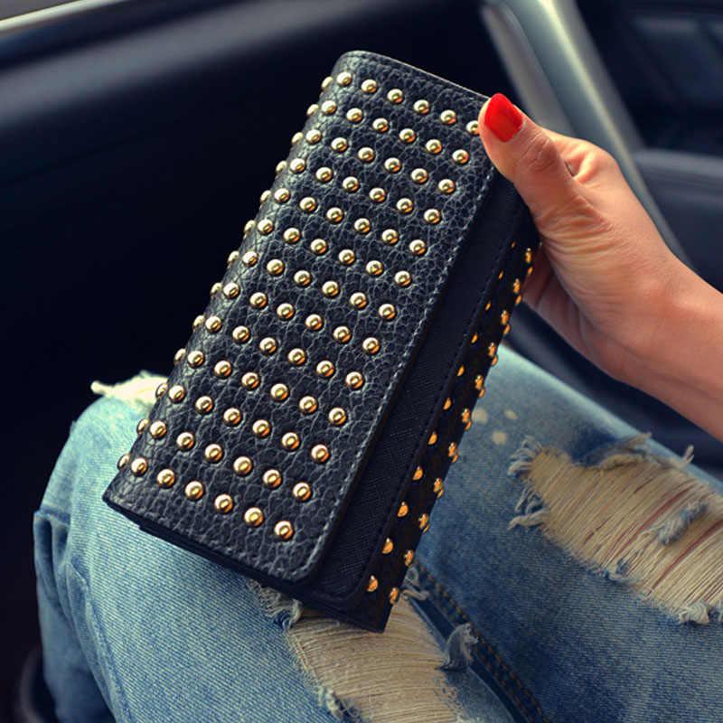2019 nowych moda kobiet portfele nit portfel ze skóry syntetycznej kobiet długa torebka designerska dwa razy 2 kolor torby sprzęgła