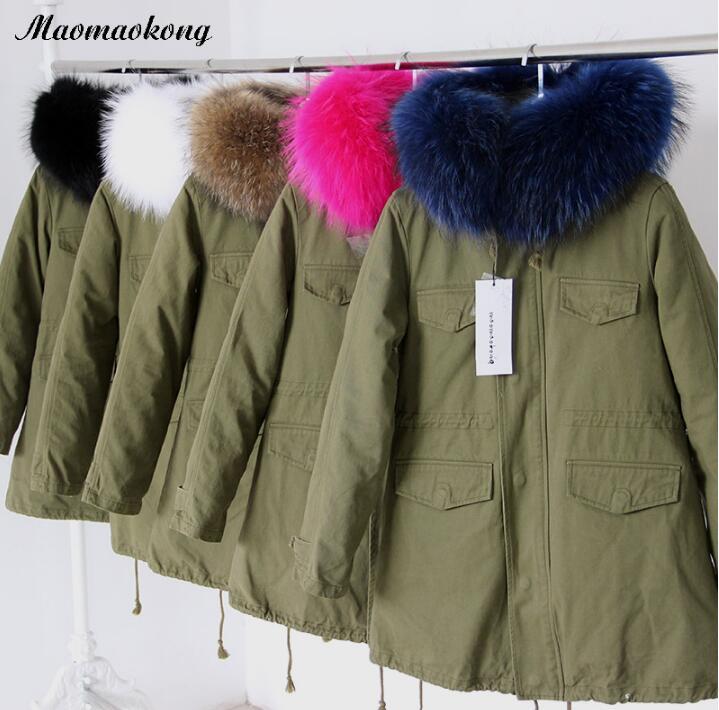 Green jacket white fur collar