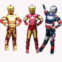 Frete Grátis Meninas Menino Homem De Ferro Halloween Crianças Superhero Ironman Cosplay Fantasias de Carnaval Com Máscara Do Partido Das Crianças Terno