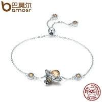 BAMOER Genuine 100 925 Sterling Silver Dancing Honey Bee Chain Link Women Bracelet Crystal Big Stone