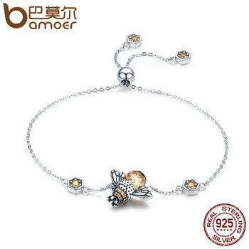 BAMOER натуральная 925 пробы 100% серебро танцы мед пчела звено цепи для женщин браслет кристалл большой камень ювелирные изделия SCB043