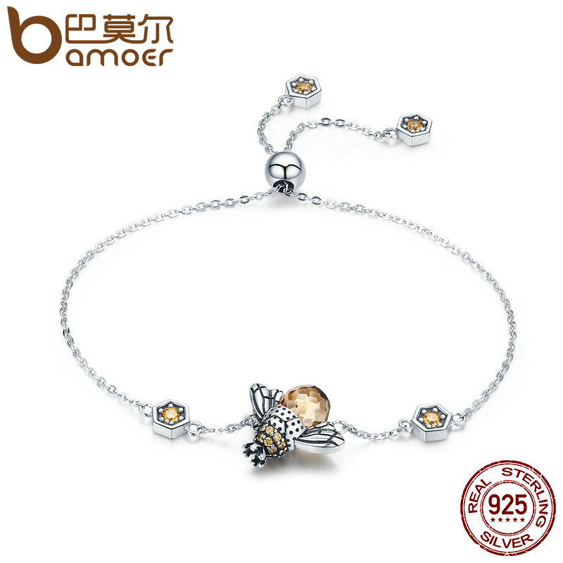 BAMOER Genuine 100% 925 Sterling Silver Dancing Honey Bee Chain Link Women Bracelet Crystal Big Stone Bracelet Jewelry SCB043 kaletine honey bee 925 sterling silver bracelets colorful heart luxury love honey comb golden bee jewelry for men women bracelet