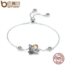 BAMOER Genuine 100% 925 Sterling Silver Dancing Honey Bee Chain Link Women Bracelet Crystal Big Stone Bracelet Jewelry SCB043(China)