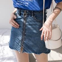 2018 Summer Spring High Waist Denim Skirt Women Casual Zipper A-line Mini Skirts Pocket School All-matched Jeans Skirt summer high waist hole denim skirt women casual a line mini skirt streetwear jeans skirts girl
