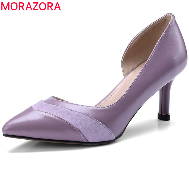 MORAZORA 2018 new pumps women shoes elegant shallow party wedding shoes pointed toe genuine leather dress shoes high heel shoes morazora 2018 new style women pumps simple shallow summer shoes elegant peep toe pink party wedding shoes 12cm high heel shoes