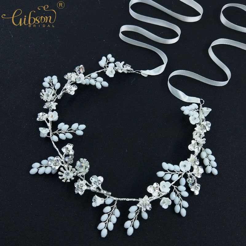 Wedding Jewelry Girl Headpiece Floral Bridal Hair Vine Resin Stone White Headband Women Hair Band Dancing Accessories lysumduoe headband black hairpin women clip s shape barrette girl hairgrip hairgrips children hairpins jewelry hair accessories