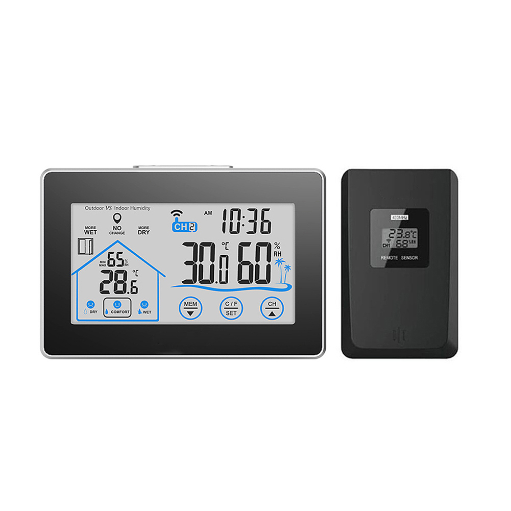 Digital Weather Station Temperature Humidity Meter Sensor Hygrometer Thermometer Wireless Touch LCD Clock Indoor Outdoor цена
