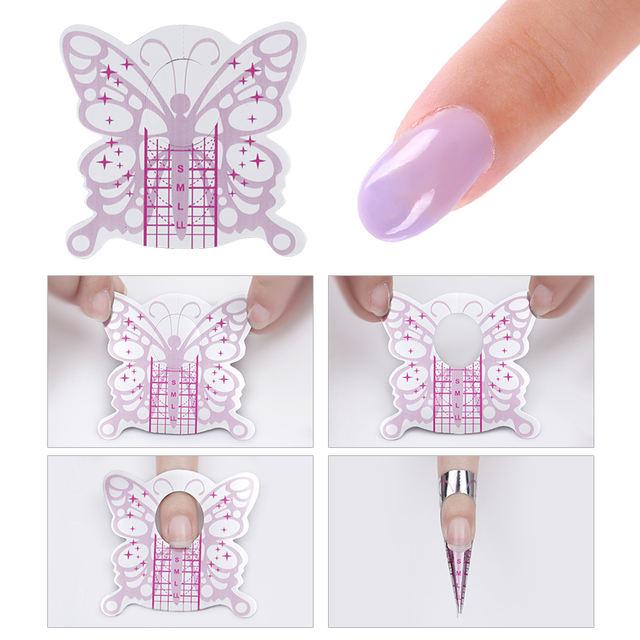 Nail Form Set Nail Art French Acrylic UV Gel Tips Extension Builder Form Guide Stencil Poly Nail Art Beauty DIY Tools
