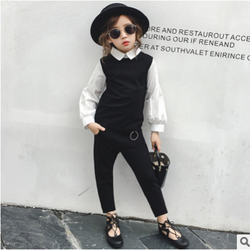 Children 's Leisure Clothing Sets 2018 New Spring and Autumn Girls Solid Color Size6-14 2-piece ly070 Kids Leisure Clothes Sets children s clothing new spring and autumn 2018 children s skirt suit children s three piece children s suits