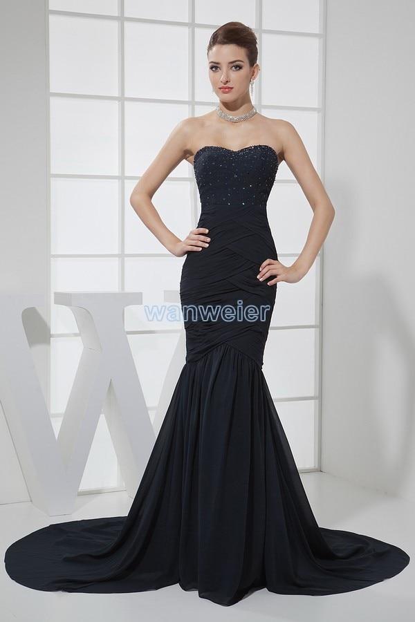 Livraison gratuite 2013 offre spéciale longue sirène noire robes de bal formelles taille personnalisée/couleur perles petit train robe de soirée en mousseline de soie