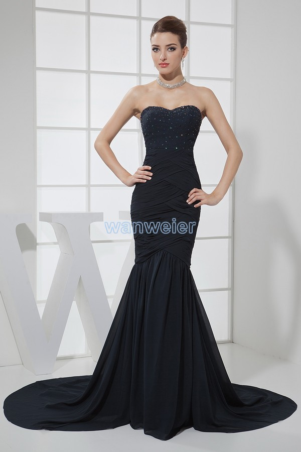 free shipping 2013 hot sale long black mermaid formal ball gowns custommade size/color beading small train chiffon   evening     dress