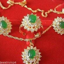 Цена 16new^ ювелирные изделия натуральный зеленый камень ожерелье серьги кольцо комплект+ Цепочка